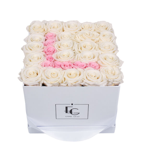 LETTER INFINITY ROSEBOX   PURE WHITE & BRIDAL PINK   M