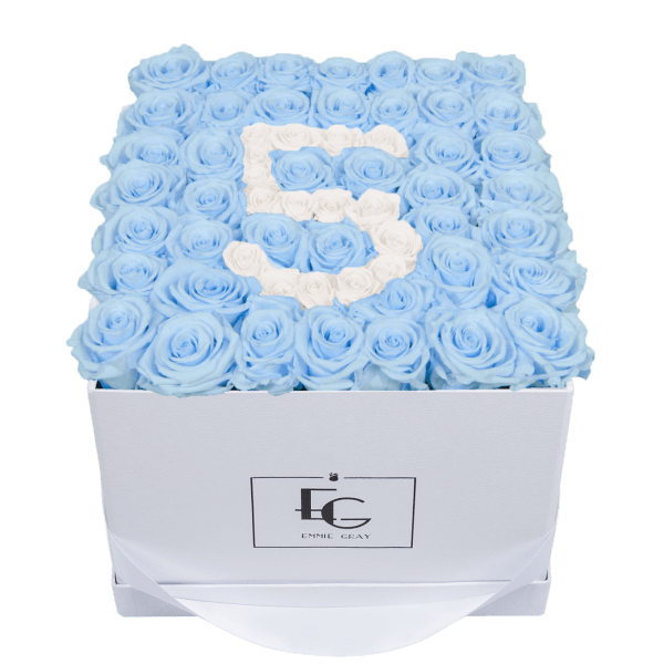 NUMBER INFINITY ROSEBOX   BABY BLUE & PURE WHITE   L