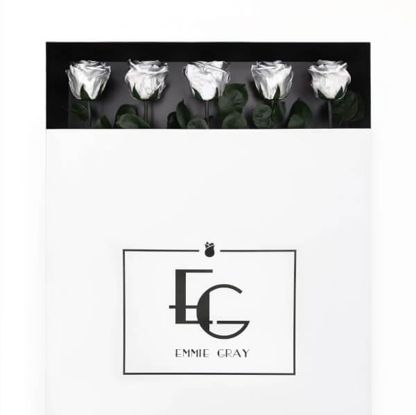 Long Stem Infinity Rose   Silver   5 Roses