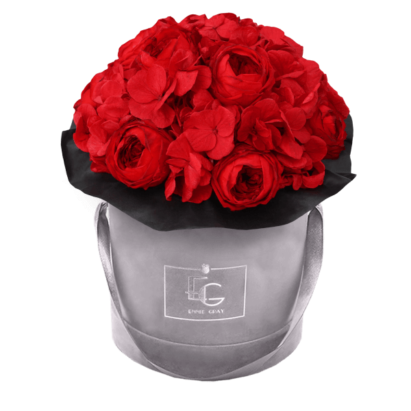 Splendid Peony Mix Infinity Rosebox | Vibrant Red | S