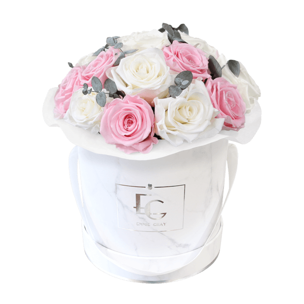 Splendid Eucalyptus Infinity Rosebox   Pure White & Bridal Pink   S