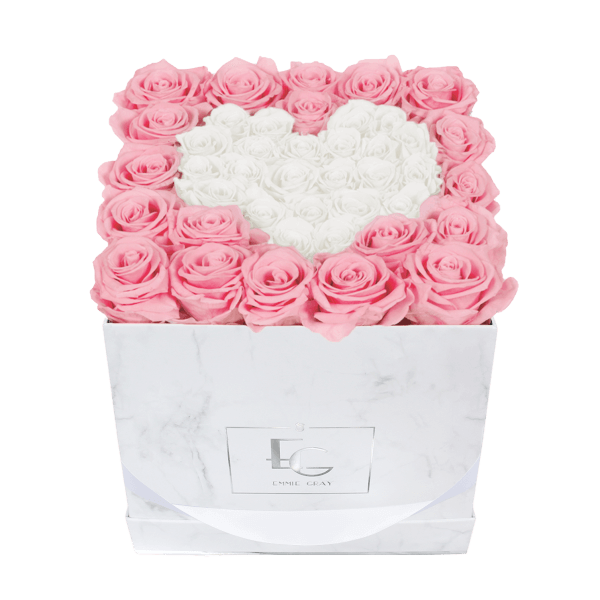 Heart Symbol Infinity Rosebox | Bridal Pink & Pure White | M