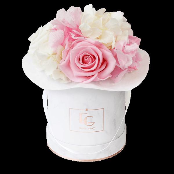Splendid Hydrangea Mix Infinity Rosebox | Bridal Pink & Pure White | XS