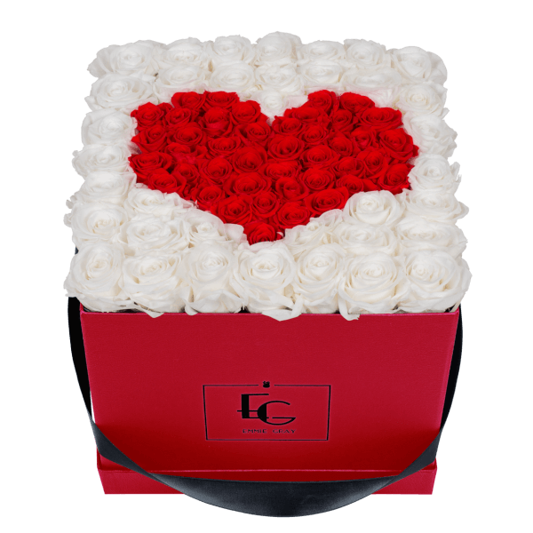 HEART SYMBOL INFINITY ROSEBOX | PURE WHITE & VIBRANT RED | L