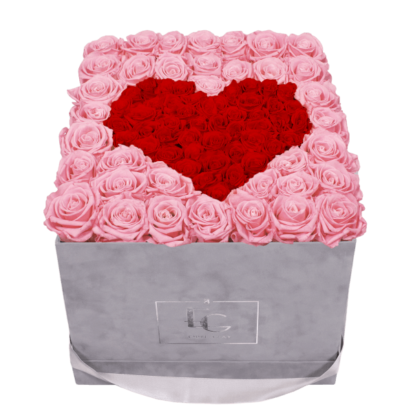 HEART SYMBOL INFINITY ROSEBOX | BRIDAL PINK & VIBRANT RED | L