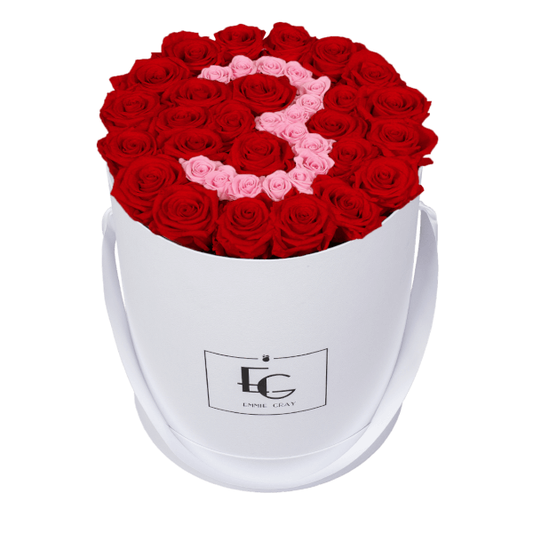 NUMBER INFINITY ROSEBOX | VIBRANT RED & BRIDAL PINK | L