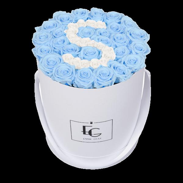 LETTER INFINITY ROSEBOX   BABY BLUE & PURE WHITE   L