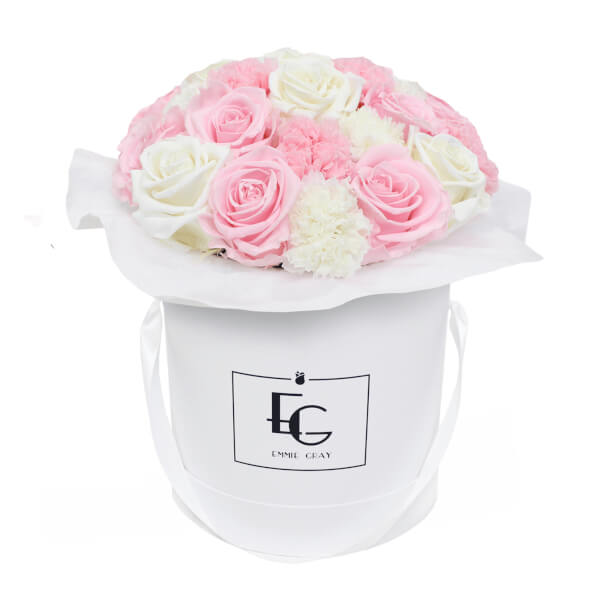 SPLENDID CARNATION MIX INFINITY ROSEBOX | BRIDAL PINK & PURE WHITE | M