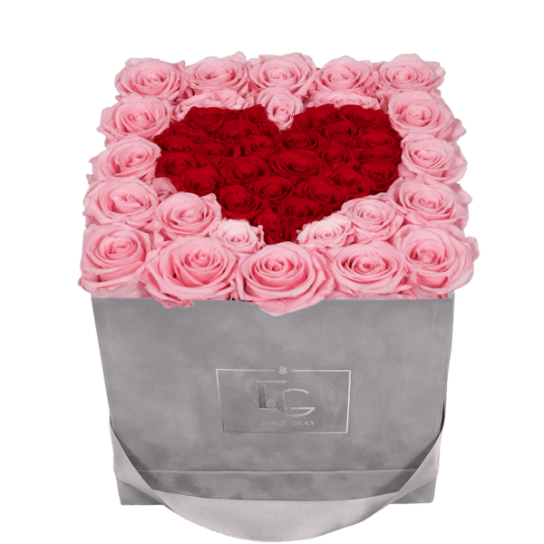 HEART SYMBOL INFINITY ROSEBOX | BRIDAL PINK & VIBRANT RED | M