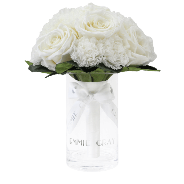 Romantic Carnation Infinity Bouquet | Pure White | S