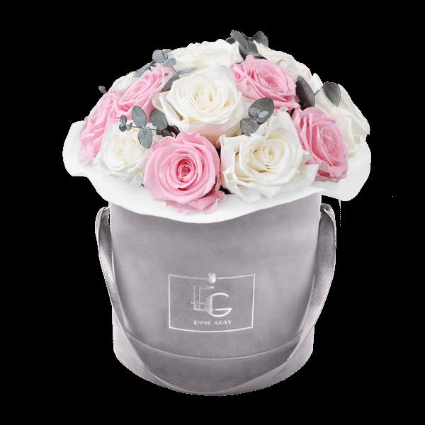 Splendid Eucalyptus Infinity Rosebox | Pure White & Bridal Pink | S
