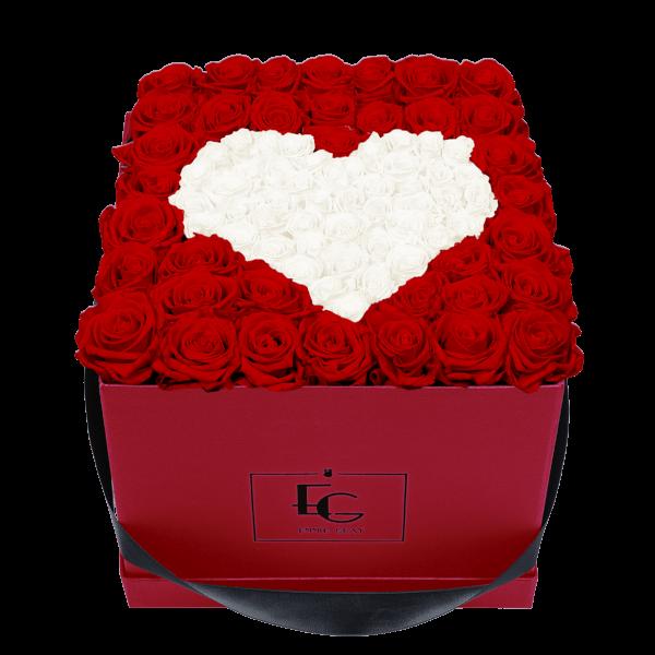 HEART SYMBOL INFINITY ROSEBOX | VIBRANT RED & PURE WHITE | L