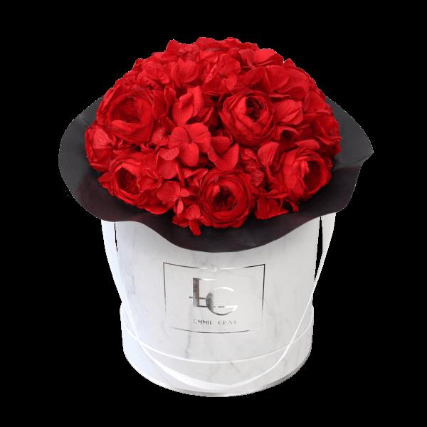 Splendid Peony Mix Infinity Rosebox   Vibrant Red   M