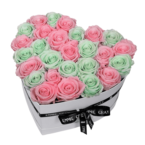 MIX INFINITY ROSEBOX | BRIDAL PINK & MINTY GREEN | L
