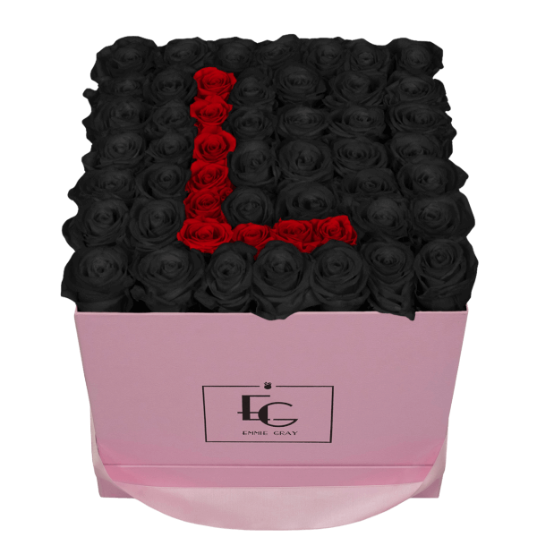 LETTER INFINITY ROSEBOX | BLACK BEAUTY & VIBRANT RED | L