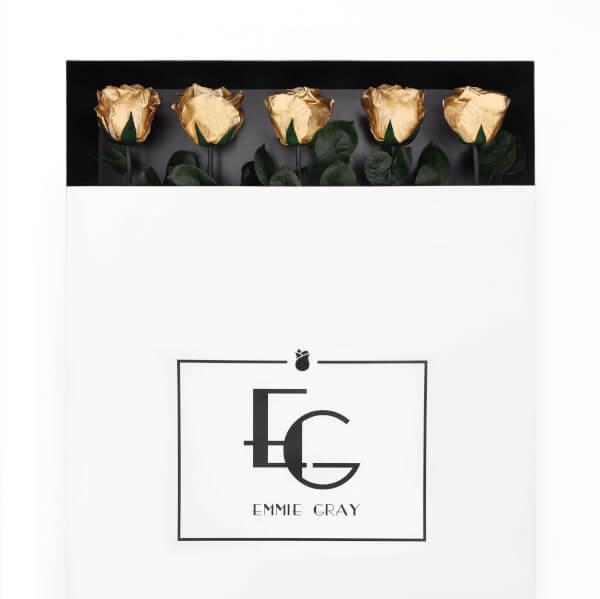 Long Stem Infinity Rose   Gold   5 Roses