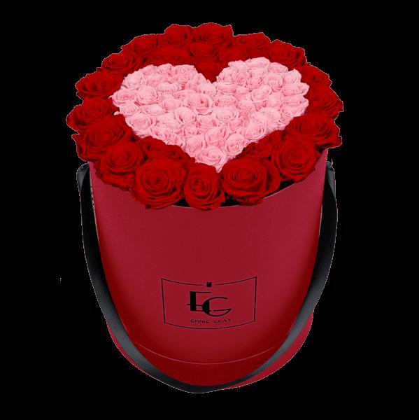 HEART SYMBOL INFINITY ROSEBOX   VIBRANT RED & BRIDAL PINK   L