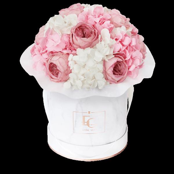 Splendid Peony Mix Infinity Rosebox   Bridal Pink & Pure White   S
