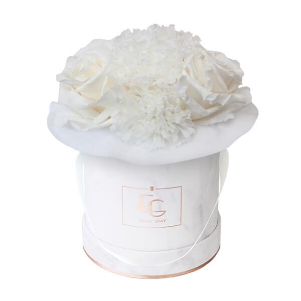 Splendid Carnation Infinity Rosebox   Pure White   XS