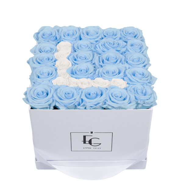 LETTER INFINITY ROSEBOX | BABY BLUE & PURE WHITE | M