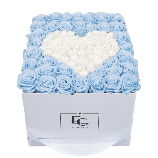 HEART SYMBOL INFINITY ROSEBOX | BABY BLUE & PURE WHITE | L