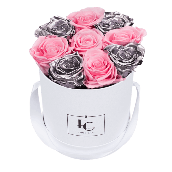 MIX INFINITY ROSEBOX | BRIDAL PINK & SILVER_ | S