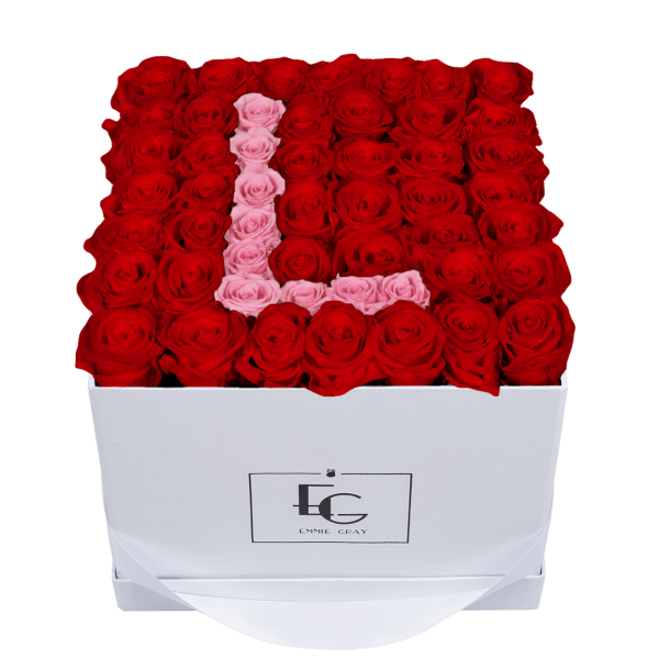 LETTER INFINITY ROSEBOX | VIBRANT RED & BRIDAL PINK | L