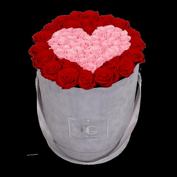 HEART SYMBOL INFINITY ROSEBOX | VIBRANT RED & BRIDAL PINK | L