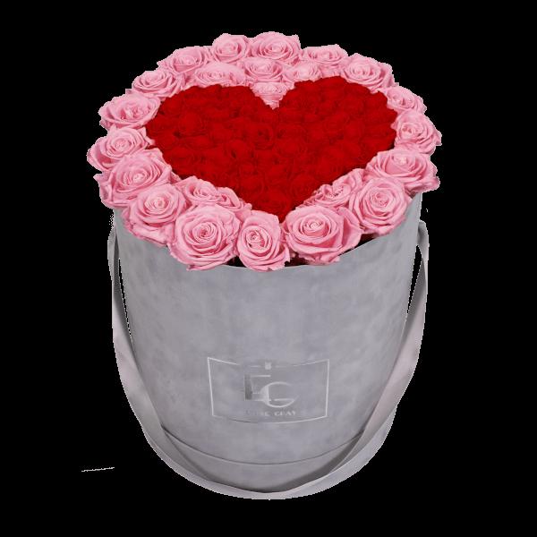 HEART SYMBOL INFINITY ROSEBOX | BRIDAL PINK & VIBRANT RED | L
