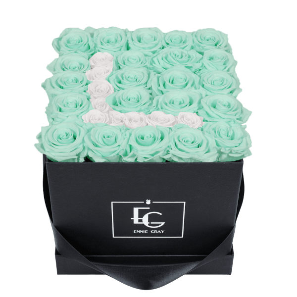 LETTER INFINITY ROSEBOX   MINTY GREEN & PURE WHITE   M