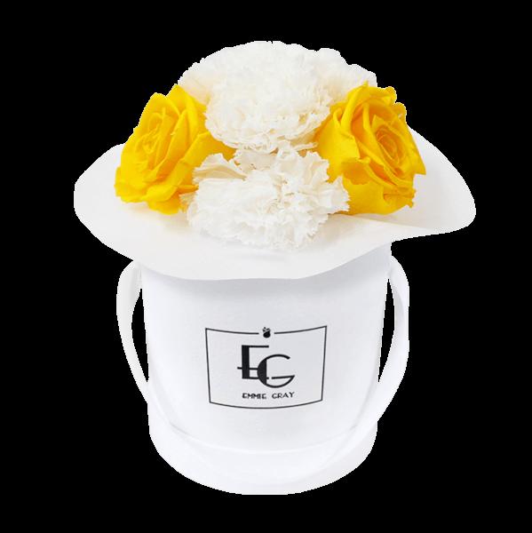 Splendid Carnation Mix Infinity Rosebox | Sunny Yellow & Pure White | XS