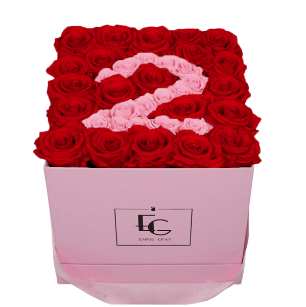 NUMBER INFINITY ROSEBOX | VIBRANT RED & BRIDAL PINK | M