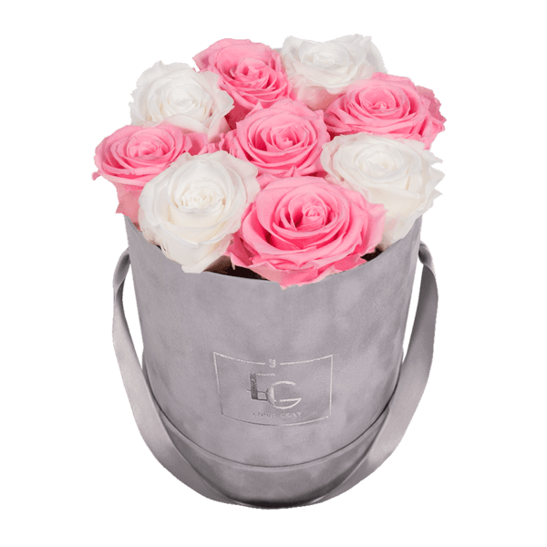MIX INFINITY ROSEBOX | BRIDAL PINK & PURE WHITE | S