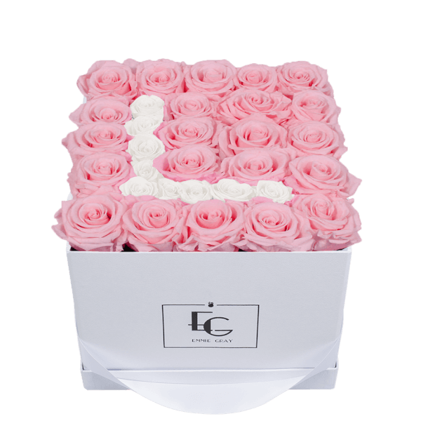 LETTER INFINITY ROSEBOX | BRIDAL PINK & PURE WHITE | M