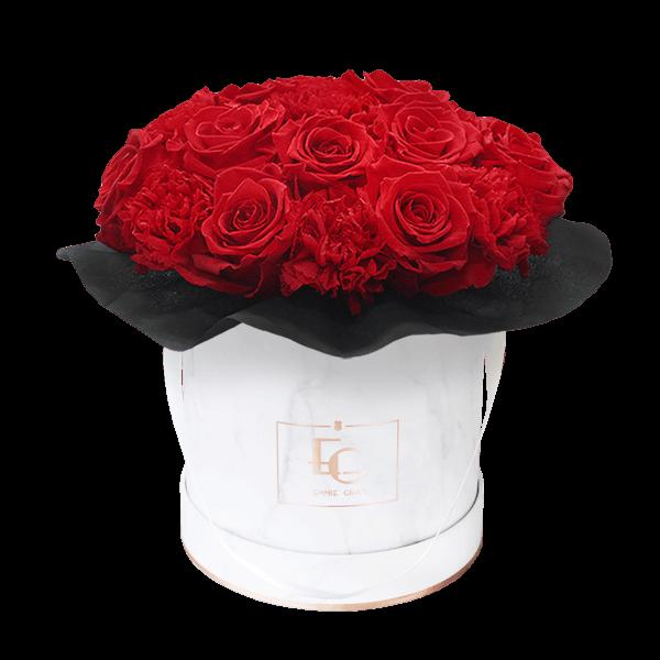 Splendid Carnation Infinity Rosebox | Vibrant Red | S