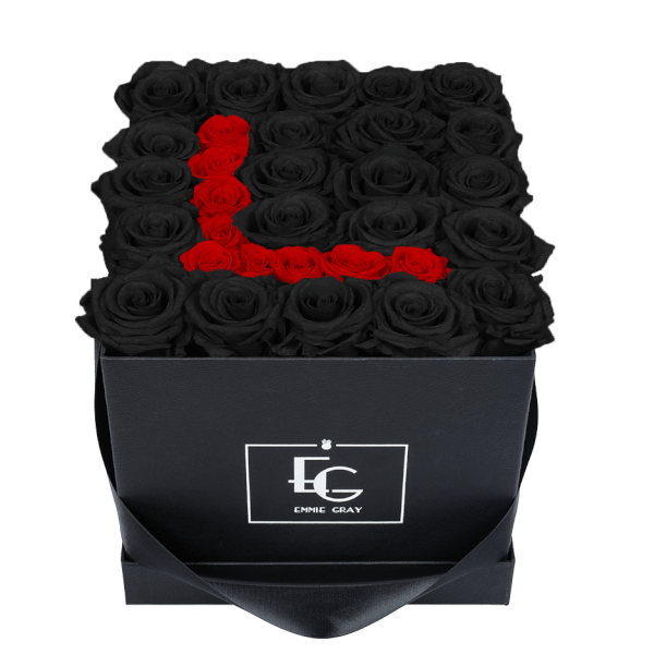 LETTER INFINITY ROSEBOX | BLACK BEAUTY & VIBRANT RED | M