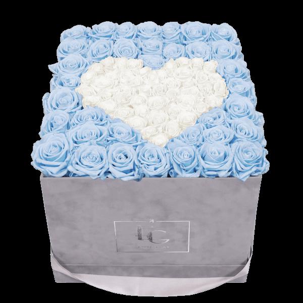 HEART SYMBOL INFINITY ROSEBOX   BABY BLUE & PURE WHITE   L