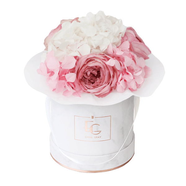 Splendid Peony Mix Infinity Rosebox | Bridal Pink & Pure White | XS