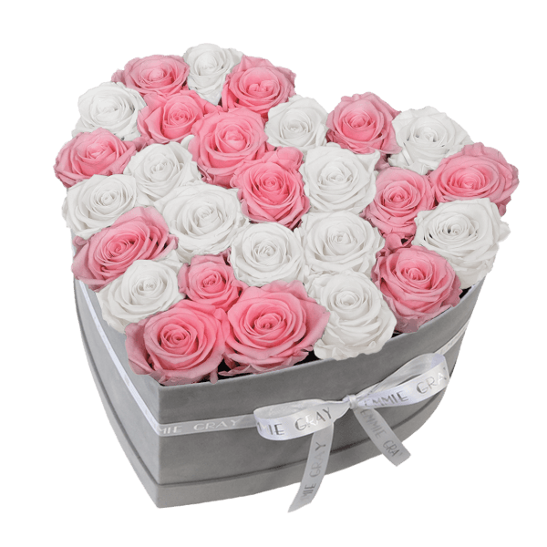 CLASSIC INFINITY ROSEBOX | BRIDAL PINK & PURE WHITE | L