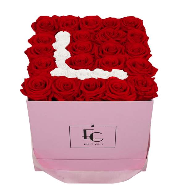 LETTER INFINITY ROSEBOX | VIBRANT RED & PURE WHITE | M