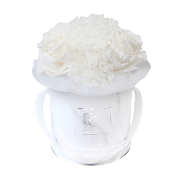 SPLENDID CARNATION INFINITY ROSEBOX | PURE WHITE | XS