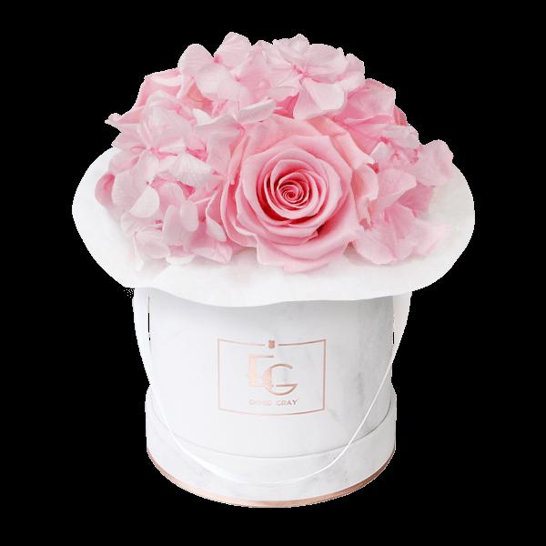 Splendid Hydrangea Infinity Rosebox | Bridal Pink | XS