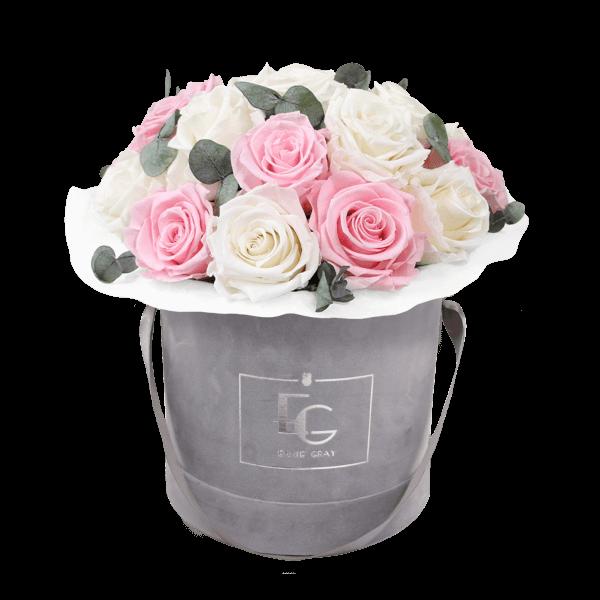 Splendid Eucalyptus Infinity Rosebox   Pure White & Bridal Pink   M