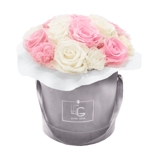 SPLENDID CARNATION MIX INFINITY ROSEBOX | BRIDAL PINK & PURE WHITE | S